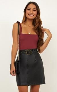 Forever Giggling Skirt In Black Leatherette