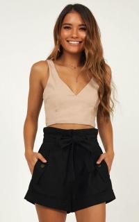 Wilder Mind Shorts In Black Linen Look