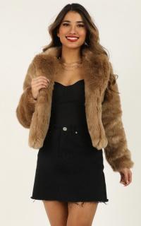 Harlow Faux Fur Coat In Beige