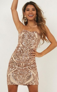 River Nile Dress In Rose Gold Sequin