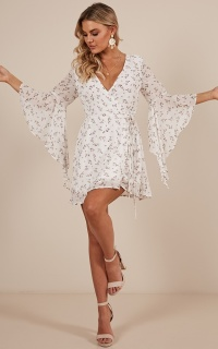 All The Time dress in white floral