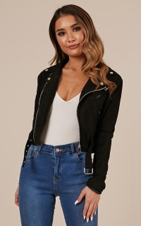 Rocker Chick Jacket in Black Suedette