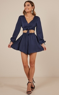 Close Encounter Two Piece Set In Navy Satin