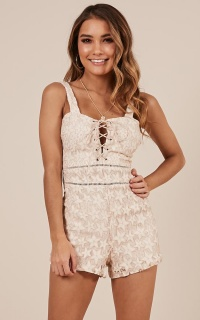 One Night Only Playsuit in beige lace