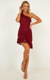 Minty Fresh Dress In Wine Lace