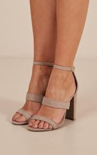 Zadie heels in taupe micro