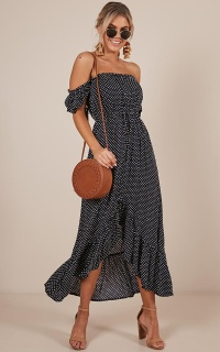 Underlying Message Maxi Dress In Navy Polkadot
