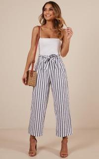 Stay Still pants in blue stripe