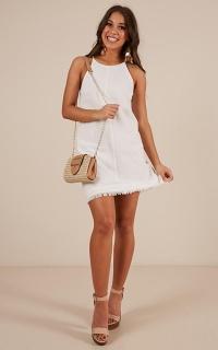 Talking Straight Dress In White Linen Look