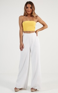 Midnight Daydream Pants In White Linen Look