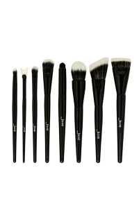 Duo Fibre Makeup Brush Set In Black - 8 pcs