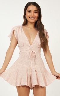 River Run Playsuit In Blush Floral
