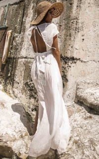 To The Moon Beach Dress in White