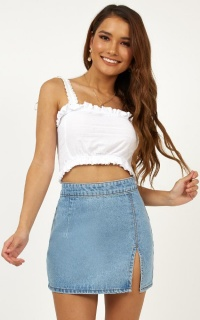 Sway This Way Denim Skirt in Light Wash