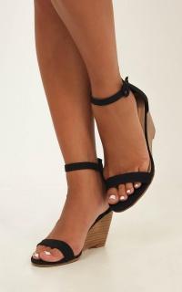 Billini - Agari Wedges In Black Linen Look