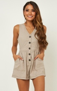 Arrive On Time Playsuit In Mocha Linen Look