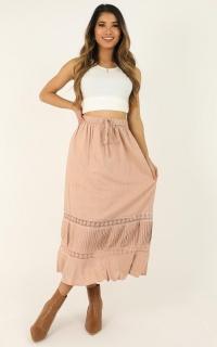 Love It Here Skirt In Blush Linen Look