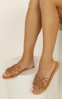 Billini - Cayenne slides in tan nubuck
