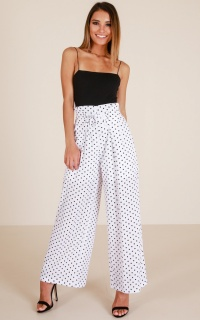 First To Leave Pants In White Polka Dot