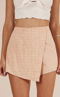 Call It Even Skort In Orange Gingham