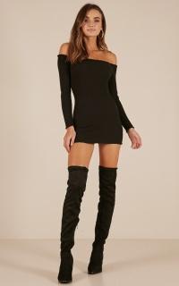 Walk Me Home knit dress in black