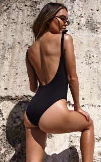 Annika One Piece In Black Rib