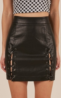 Blame It Skirt in black leatherette