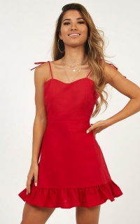 Celebrate The Day Dress In Red Linen Look