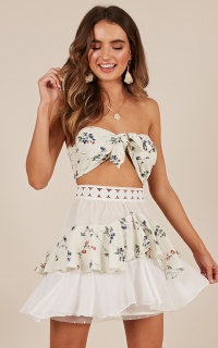 Tier Me two piece set in cream floral