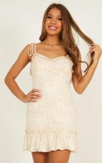 Friends For Evs Dress In Cream Burnout
