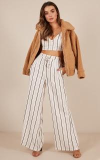 Night Takes Over Pants in  white stripe