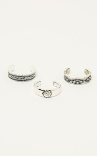 Keep Holding On Toe Ring 3 Pack In Silver
