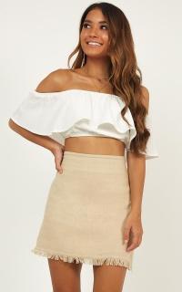 Late Breakfast Skirt In Beige Linen Look