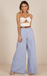 Midnight Daydream Pants in blue stripe linen look