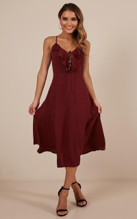 Think Quick Dress in wine