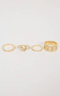 Name In Lights Midi Ring Set In Gold