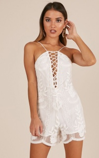 Keep It Coming Playsuit In White Lace