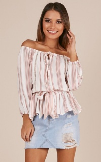 Closer In Time Top In Pink Stripe