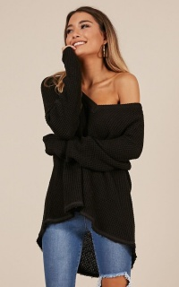 Frosty cold knit sweater in black