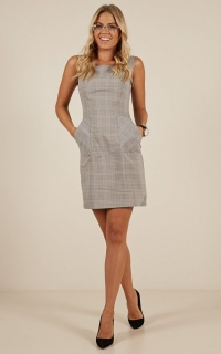 Lunch In Paris Dress in grey check