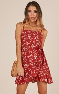 Dont Look Down Dress In Rust Floral