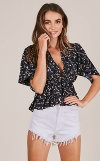 All You Can Do top in navy floral