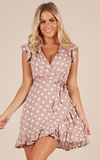 Laugh It Off dress in mocha polkadot
