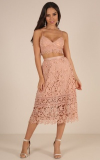 Lost Dreams two piece set in blush crochet
