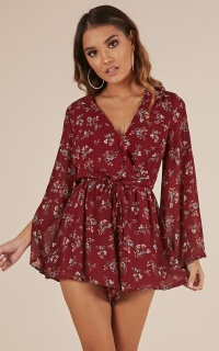 Beneath My Wings playsuit in wine floral