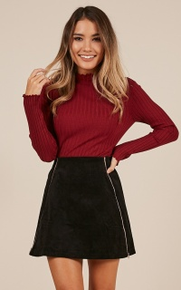 Stripe Down Skirt In Black Corduroy