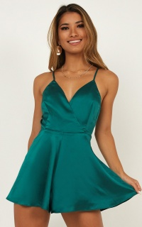 Shes Got This Playsuit In Emerald Satin