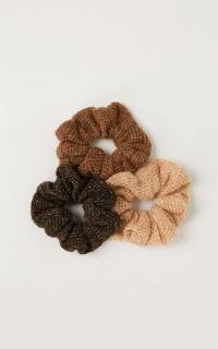 Show Me Love Scrunchie 3 Pack In Mocha Knit