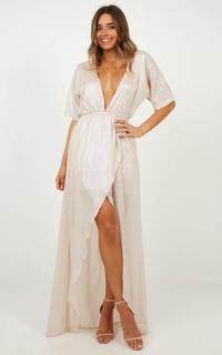 Show Me The Way Maxi Dress in Blush Metallic