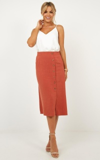 Sorority Girl skirt in rust linen look
